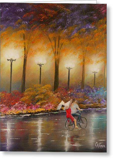 Greeting Card featuring the painting Evening Ride by Chris Fraser