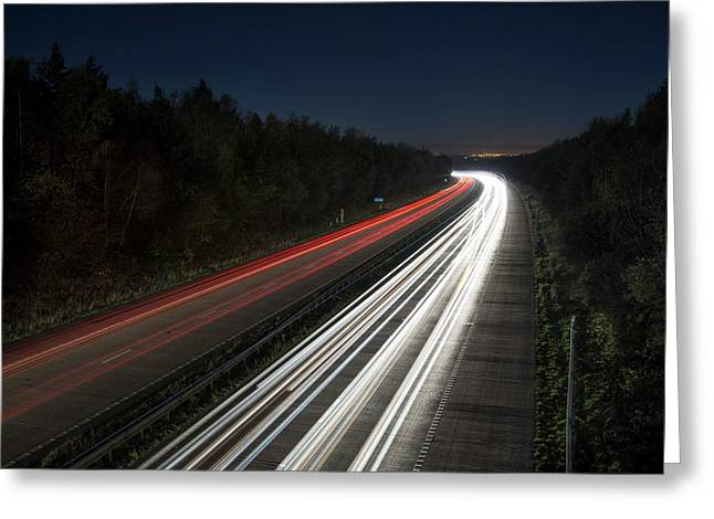 Evening Rush Hour On Motorway Greeting Card by Robert Brook