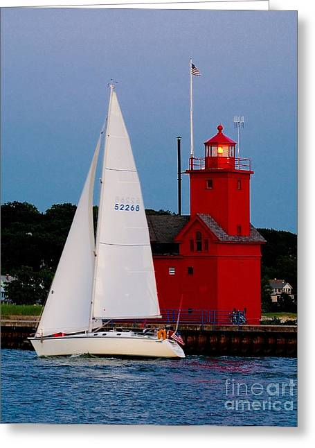 Evening Sail At Holland Light Greeting Card