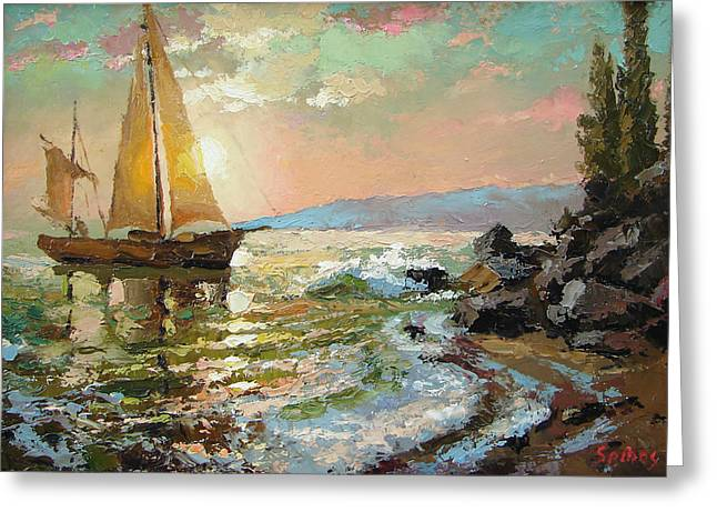 Evening Sail Greeting Card by Dmitry Spiros