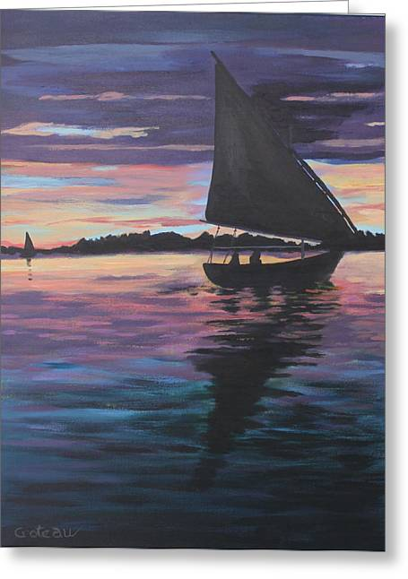 Evening Sail Greeting Card by Jane Croteau
