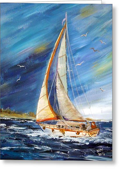 Evening Sailing Greeting Card by Dorothy Maier