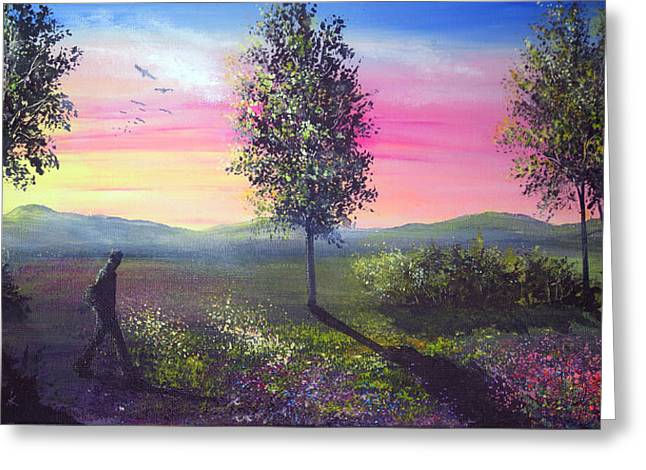 Evening Shadows Greeting Card by Ann Marie Bone