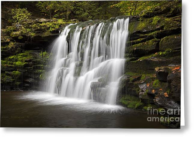 Evening Silk Wilderness Waterfall Greeting Card