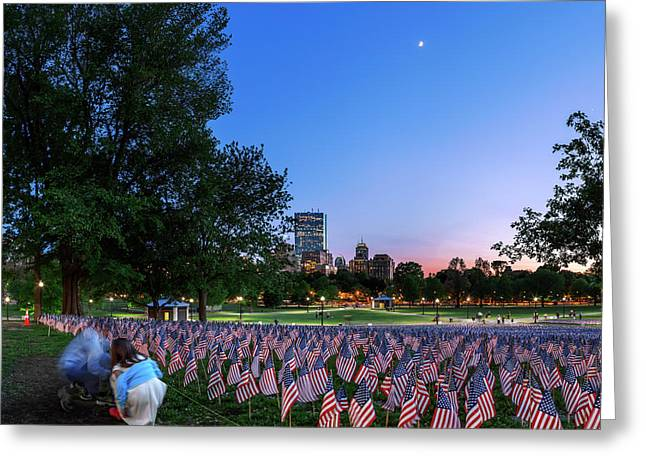 Evening Sky Over Memorial Day Flags Greeting Card