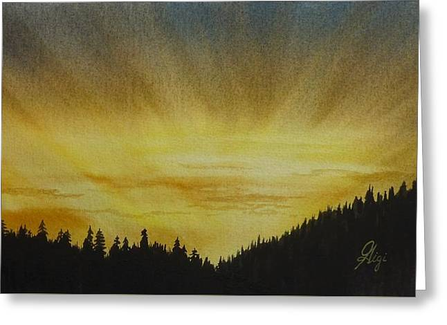 Greeting Card featuring the painting Evening Splendour by Gigi Dequanne