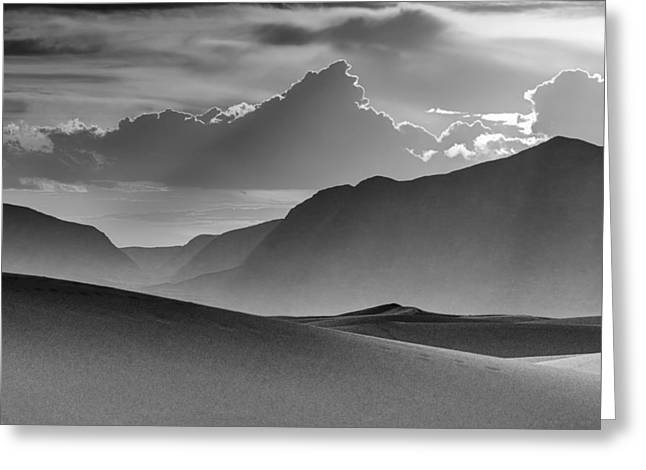 Evening Stillness - White Sands - Black And White Greeting Card
