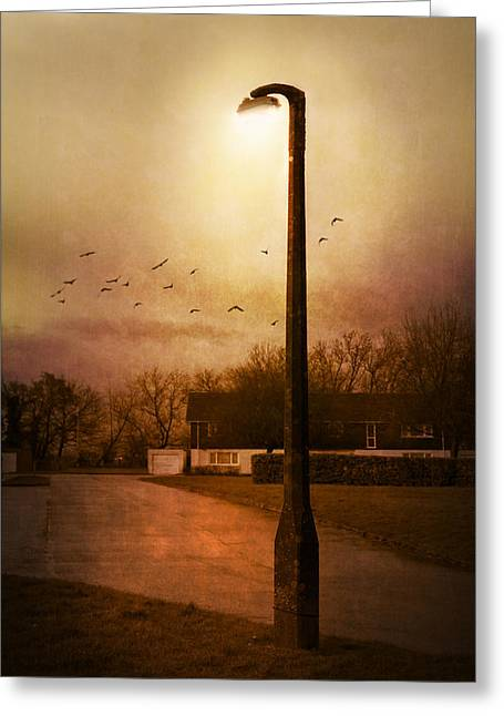 Evening Street Greeting Card by Svetlana Sewell