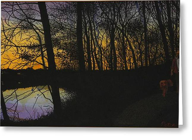 Evening Stroll Greeting Card by Peter Plant