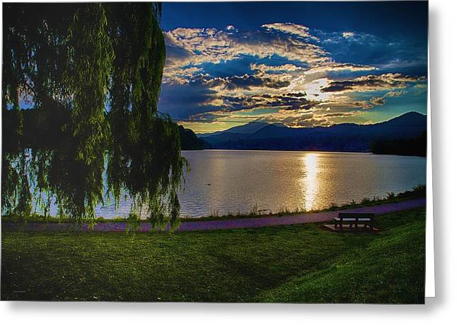 Evening Sun Kisses Lake One Last Time Greeting Card