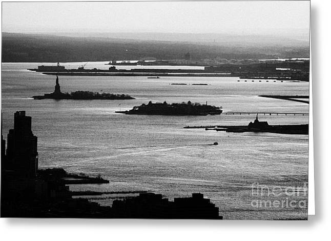 Evening Sunset View Of Liberty And Ellis Island Islands New York City Bay Usa Greeting Card
