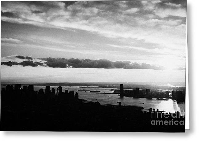 Evening Sunset View Of Lower Manhattan And Hudson River New York City Greeting Card