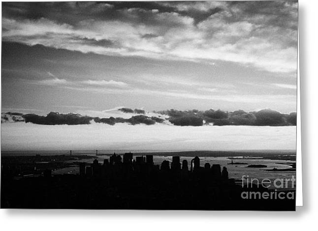 Evening Sunset View Of Lower Manhattan New York City Greeting Card