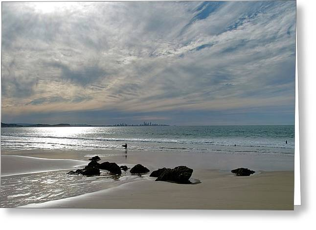 Evening Surf Greeting Card by Jocelyn Kahawai