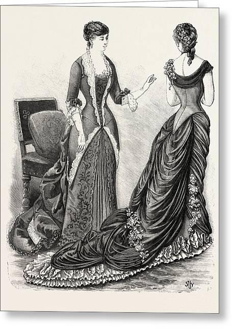 Evening Toilettes Fashion, Engraving 1884, Uk, Britain Greeting Card