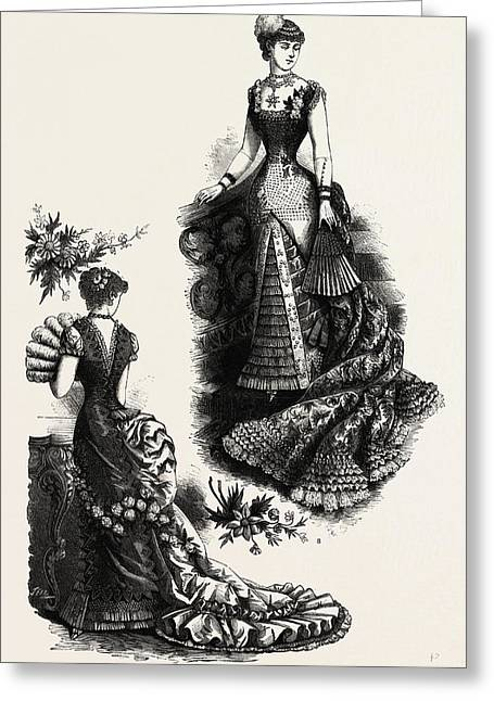 Evening Toilettes For Dinners And Balls,  Fashion Greeting Card