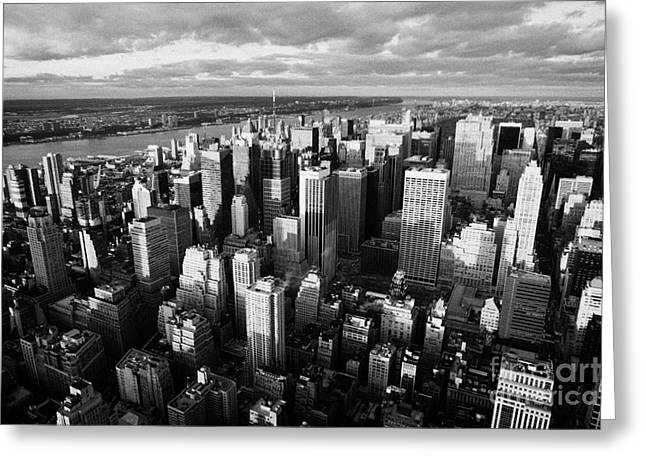 Evening View Of Manhattan North West Towards Hudson River New York City Greeting Card