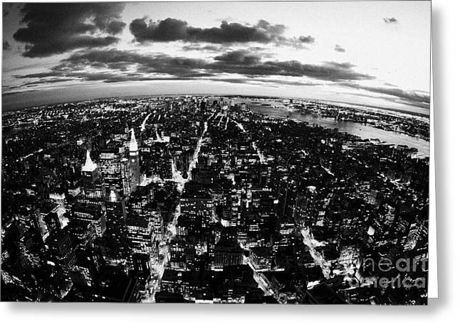 Evening View Of South Manhattan And Sunset Lower New York City Greeting Card