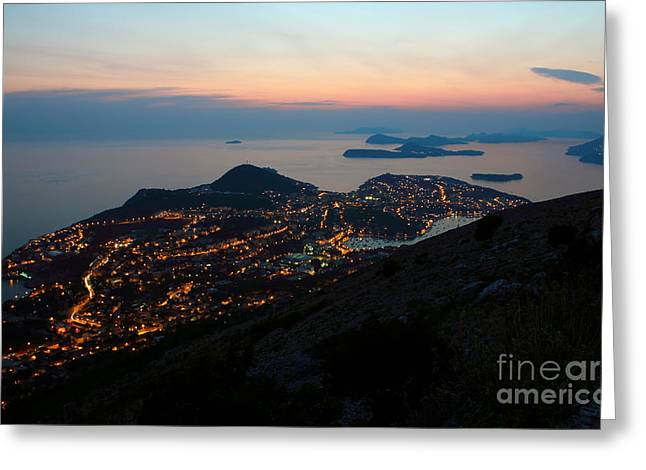 Evening View Toward Dubrovnik And The Dalmatian Coast Greeting Card by Kiril Stanchev