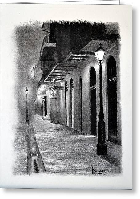 Evening Walk Down Pirate Alley Greeting Card by Ron Landry