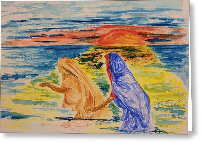 Evening Wash At The Kumbh Mela Greeting Card by Paul Morgan