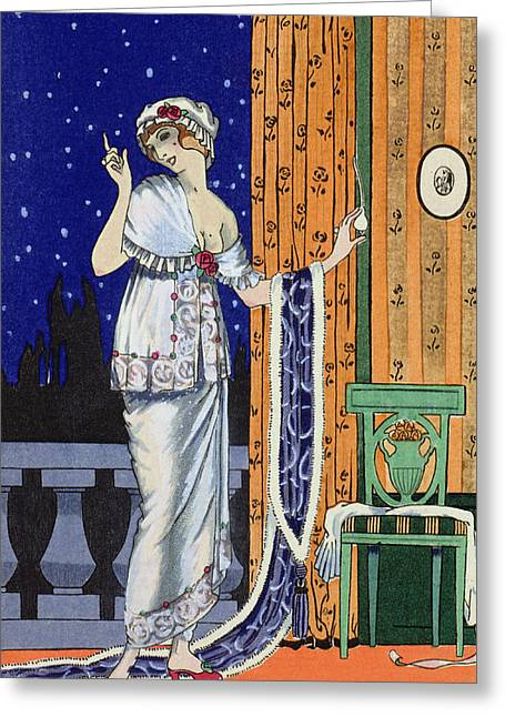 Evening Wear From Costume Parisien Greeting Card