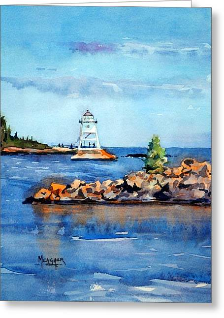 Evenings Glow At The Harbor Greeting Card by Spencer Meagher