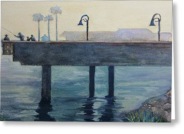 Greeting Card featuring the painting Eventide At The Oceanside Harbor Fishing Pier by Jan Cipolla