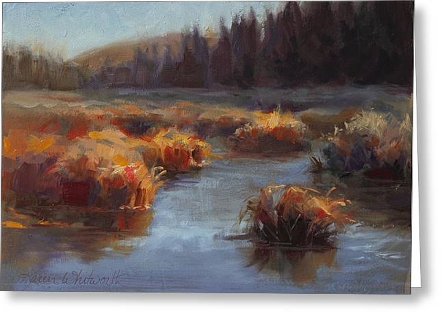 Ever Flowing Alaskan Creek In Autumn Greeting Card by Karen Whitworth