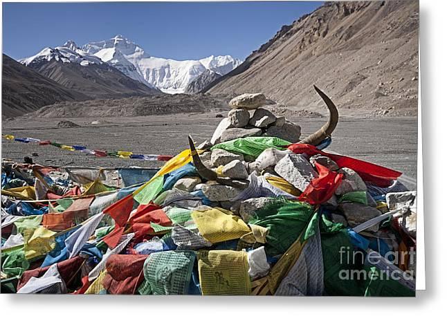 Everest And Prayer Flags Greeting Card by Hitendra SINKAR