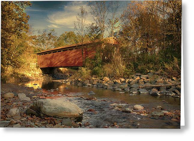 Everett Rd Summit County Ohio Covered Bridge Fall Greeting Card