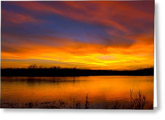 Everglades Sunset Panorama Greeting Card by Mark Andrew Thomas