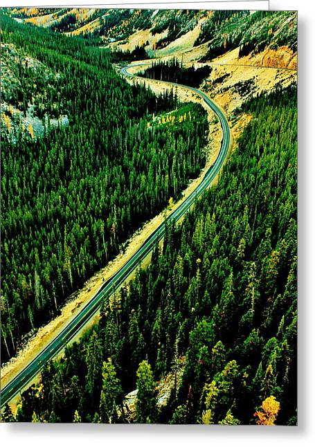 Evergreen Highway Greeting Card by Benjamin Yeager
