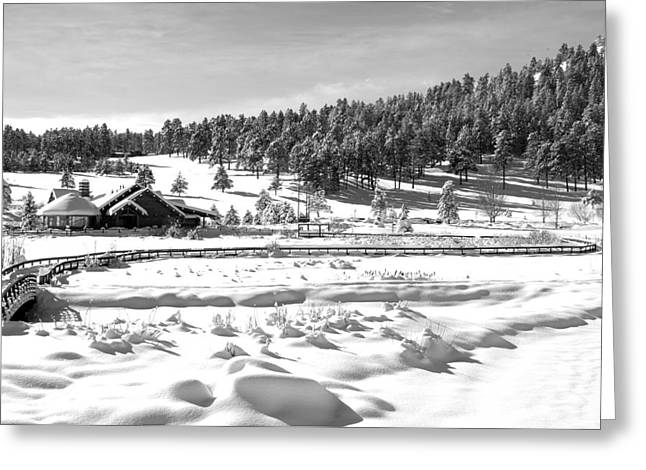 Evergreen Lake House In Winter Greeting Card by Ron White