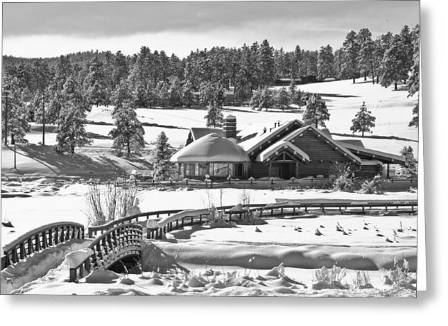 Evergreen Lake House Winter Greeting Card by Ron White