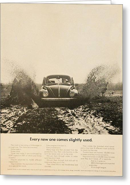 Every New One Comes Slightly Used - Vintage Volkswagen Advert Greeting Card by Georgia Fowler
