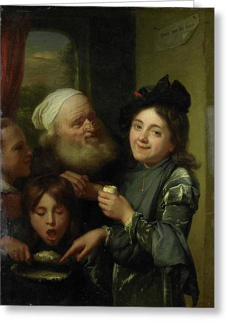 Every One His Fancy, Godfried Schalcken Greeting Card by Litz Collection