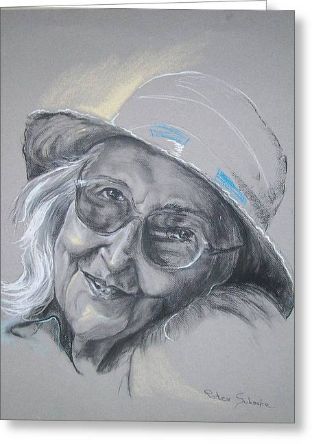 Greeting Card featuring the drawing Everybodys Grandma by Peter Suhocke