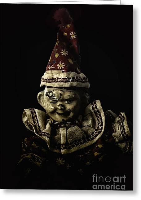 Evil Clown Greeting Card by Margie Hurwich