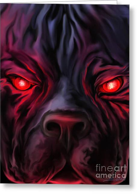Evil Pitbull Eyes By Spano Greeting Card by Michael Spano