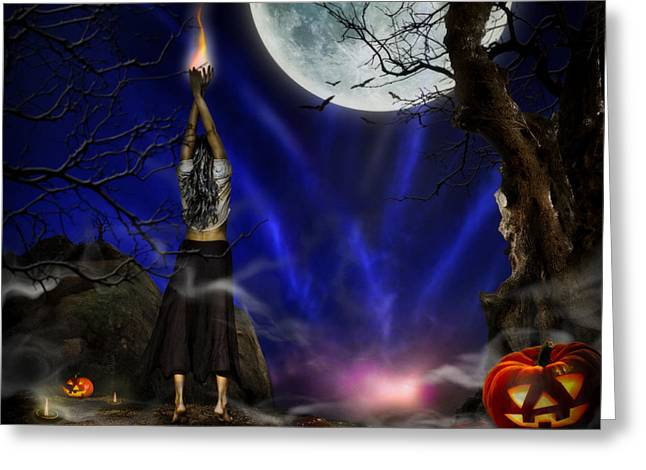 Evocation In Halloween Night Greeting Card