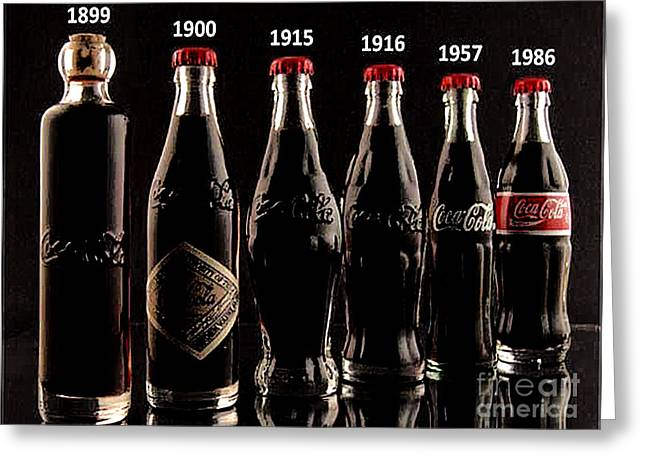 Evolution Of Coca Cola Tm Greeting Card by Merton Allen
