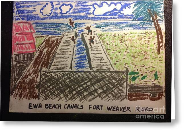 Ewa Beach Canals Greeting Card by Willard Hashimoto
