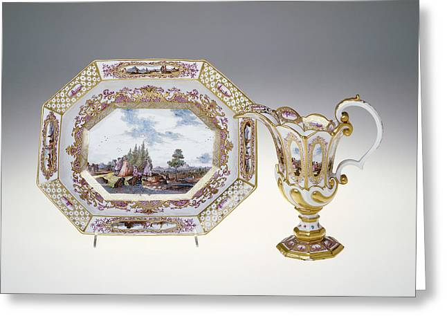 Ewer And Basin Painting Attributed To Christian Frederich Greeting Card