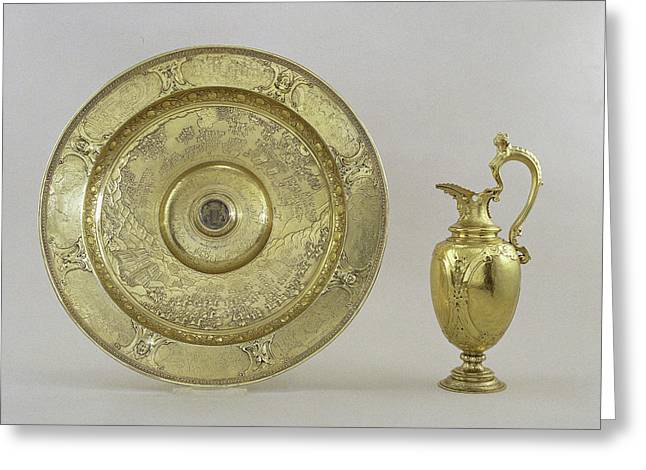 Ewer And Basin With Scenes Of Land And Sea Battles Greeting Card