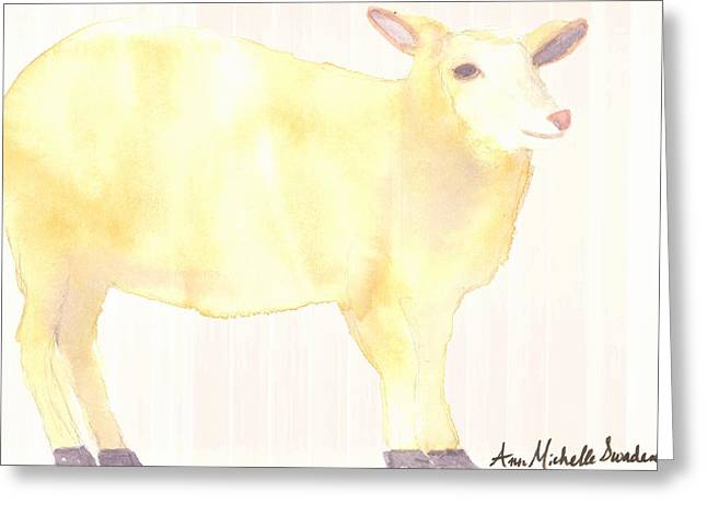 Ewe's Not Fat Ewe's Fluffy Greeting Card by Ann Michelle Swadener