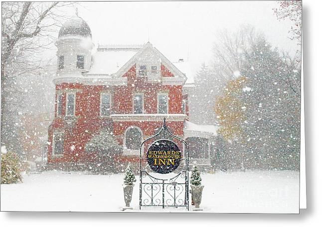 Edwards Waterhouse Inn In Winter Greeting Card