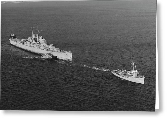 Ex-uss Vincennes Is Towed Out Of San Greeting Card by Stocktrek Images