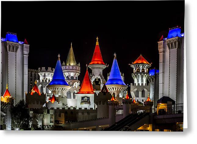 Excalibur At Night - Las Vegas Greeting Card by Eduard Moldoveanu