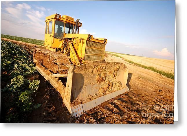 Excavator Working Greeting Card by Michal Bednarek